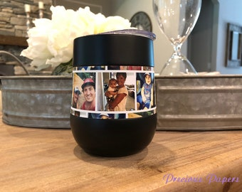 Photo insulated steel wine glass,insulated stemless steel wine with lid  Add your photo and caption perfect for a mans gift or Fathers Day