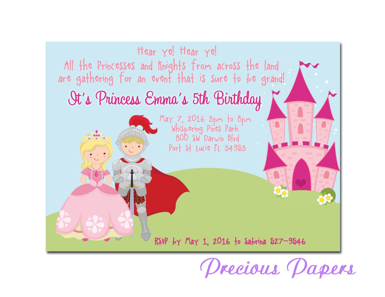 Prince And Princess Party Invitations Princess Birthday Party Etsy