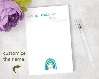 Blue Boho Rainbow Personalized Notepad Note Pad Woman's Ladies Gift Rainbow Theme
