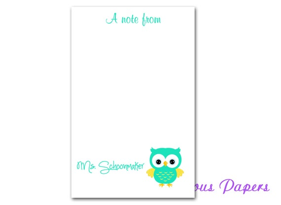 50 sheet personalized teacher note pads personalized teacher etsy