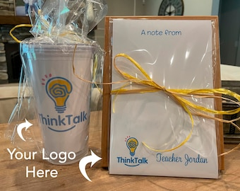 Personalized Logo Notepad and Tumbler Set Add Your Logo