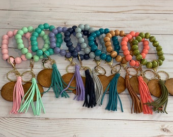 Personalized Beaded Bracelet Keychain Keyring with Wood Disc and Tassel for Wrist