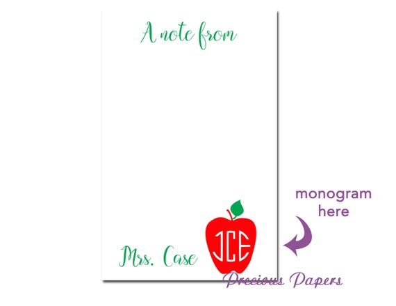 personalized teacher note pads personalized teacher gift etsy