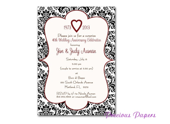 Black And Whtie Damask Invitations 40th Anniversary Party Etsy