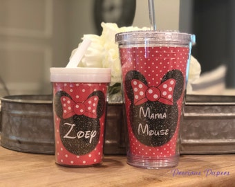 Personalized red and black Minnie Mouse kids cup with a lid and straw - red and black Minnie Mouse personalized cups - Minnie Mouse kids cup