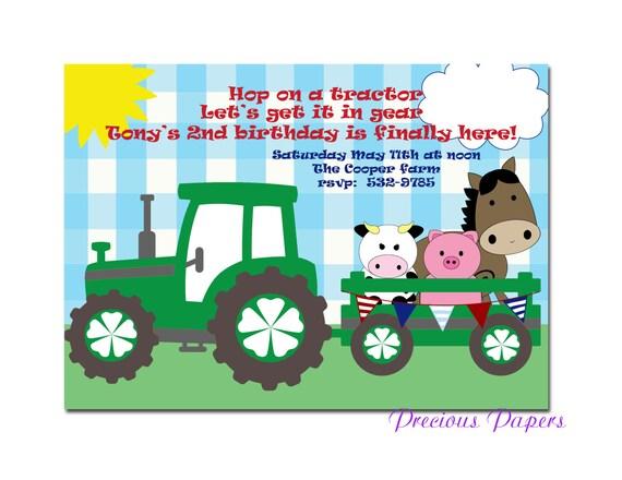 Digital farm birthday invitations tractor birthday party etsy image 0 filmwisefo