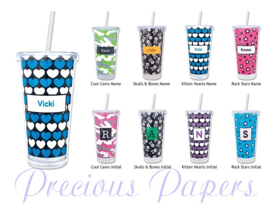 personalized cups with lid and straw personalized plastic etsy