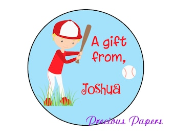 """20 baseball stickers Baseball favor stickers Sports theme Stickers  Baseball labels baseball gift tags boys gift tags 2"""" round"""