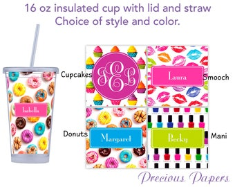 Personalized Tumblers with lid and straw - teenage girl tumbler, tween girl tumbler, teenage girl gifts, donut tumbler, cupcake tumbler