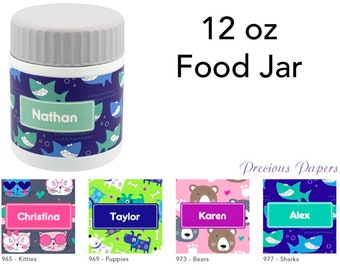 Personalized kids insulated food jar lunch box food thermos cat, dog, bear, shark several styles and colors