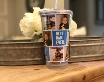 Personalized photo Tumblers with lid and straw - photo cups, photo gifts, fathers day gifts Best Dad Ever gift