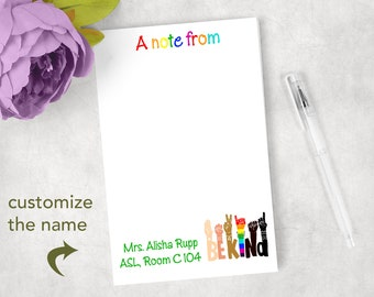 Personalized ASL American Sign Language notepads teacher gift classroom
