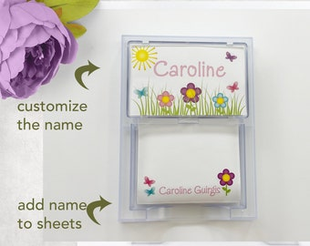 Personalized Butterfly Flower Garden Plastic Acrylic Note sheet holder memo holder