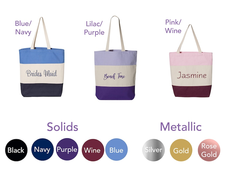 Personalized monogrammed blue striped canvas tote bag