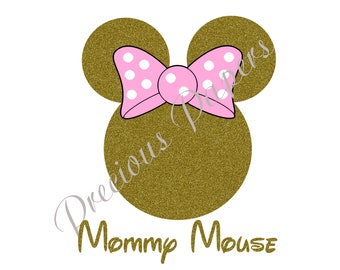 Personalized gold and pink Minnie Mouse image for a shirt.  Pink and gold Mommy Mouse image Mommy Mouse shirt image DIY Iron on image