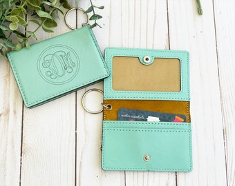 Teal Personalized Keychain Wallet, Keychain ID Holder, Leather Wallet, Christmas Gift, Women's Gift