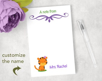 Personalized Tiger notepad Tiger note pad Tiger classroom zoo classroom teacher gift