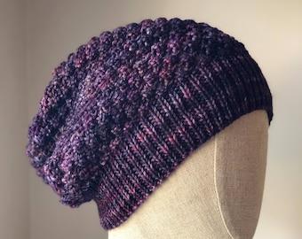 Bailey Toque in Hand Dyed Mailbrigo Merino in Violet Purple