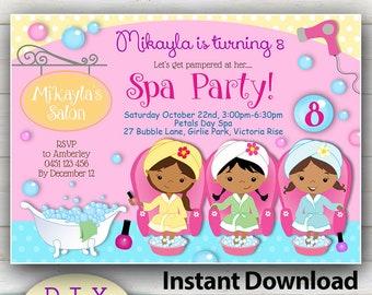 Spa Party Invitation Etsy