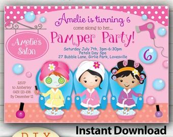 Spa party invite   Etsy