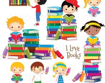 Kinderzimmer clipart  Kinder lesen clipart | Etsy