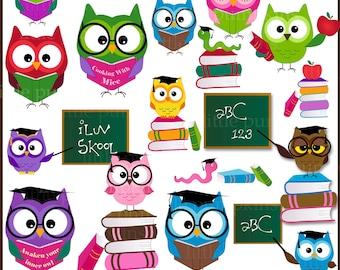 Owl Clipart School Graphics Education Funny Graduation Cute Animal Commercial Use OK Teacher