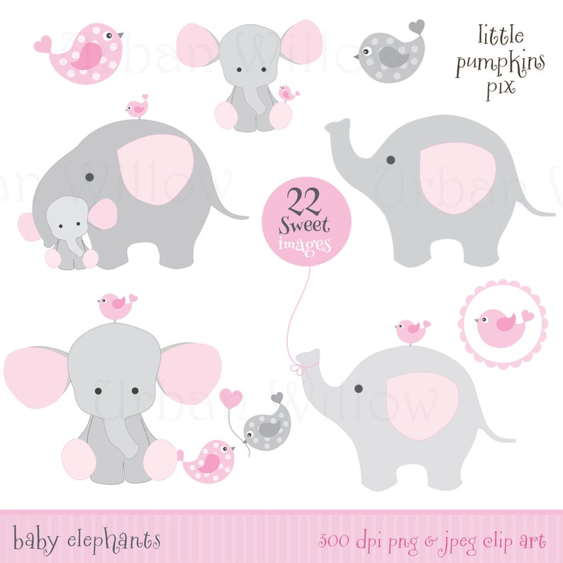 Baby elephants commercial use OK cute character graphics Cute Clipart elephant card making supplies pink animal clipart baby clipart