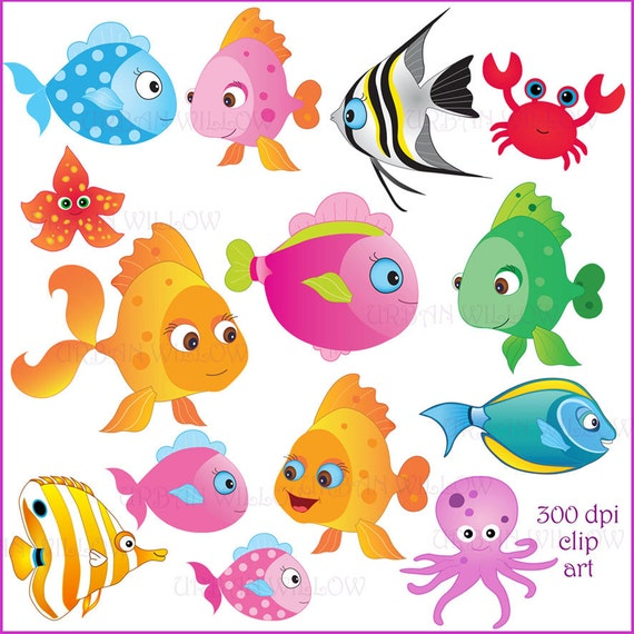 Fish Clip Art Commercial Use Ok Colorful Fish Clipart Etsy