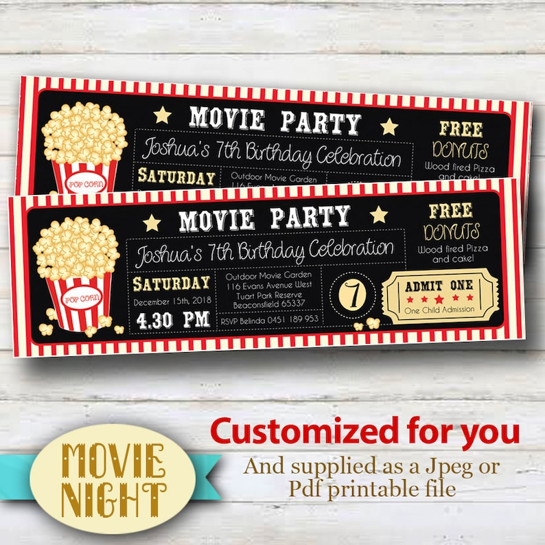 picture about Movie Ticket Printable referred to as Custom made Video clip Ticket, Printable Invites - Custom made for oneself with your childs occasion information and facts.