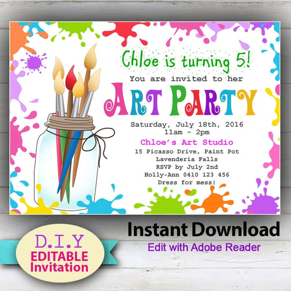 picture relating to Printable Party Invite identify EDITABLE - Printable D.I.Y. Artwork Occasion Invitation. Childrens invites. Shiny, colourful get together announcement for youngsters. Edit at house!