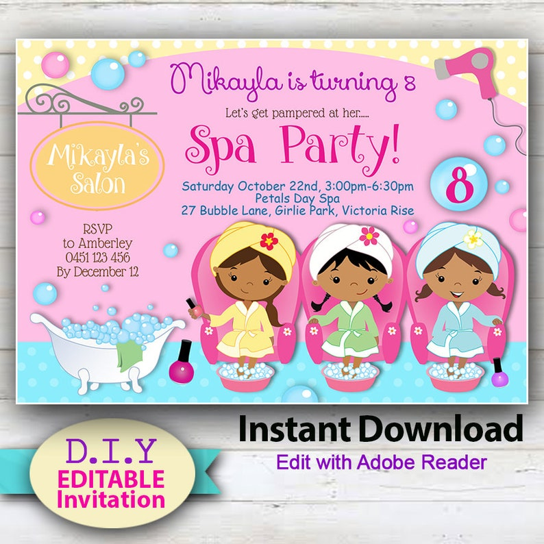 EDITABLE Spa Party invitation, Pamper Party African American, Brown Skinned  Girl Invitations, Pedicure  YOU Edit at home with Adobe Reader
