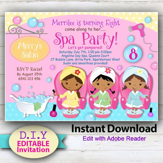 picture about Spa Party Printable identified as EDITABLE - Working day Spa, Printable Invitation. Brown Pores and skin Females. Spa get together invitation. Adorable Manicure invitation. Printable pedicure occasion.