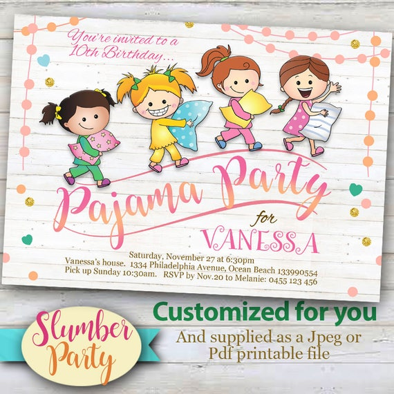 image relating to Printable Sleepover Invitations identified as Tailored Pajama Celebration Invitation, Printable Sleepover or sleep occasion invitation for women of all ages.