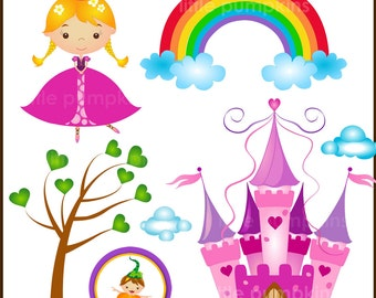 RAINBOW CASTLE - Clip art for commercial and personal use.