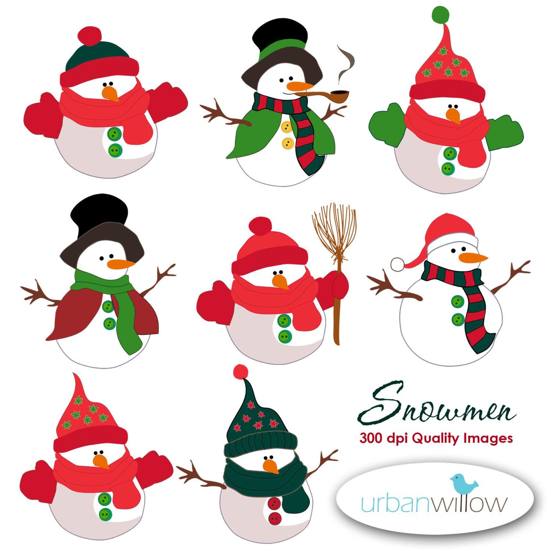 Snowman Clipart Cute Snowman Digital Clipart Red and Green ...