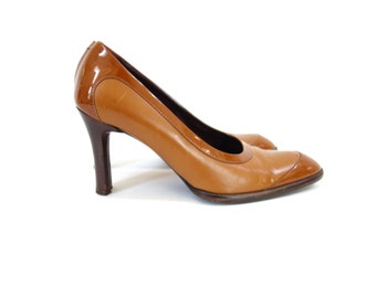 64f7e2c25186 Tobacco Brown Leather High Heels
