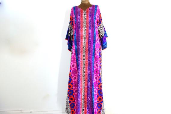 Vintage 1960s Psychedelic Maxi Dress, 60's mod era