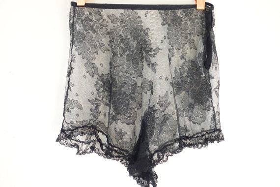Vintage 1930's  Black Lace Sheer Tap Pants, 20s Ar