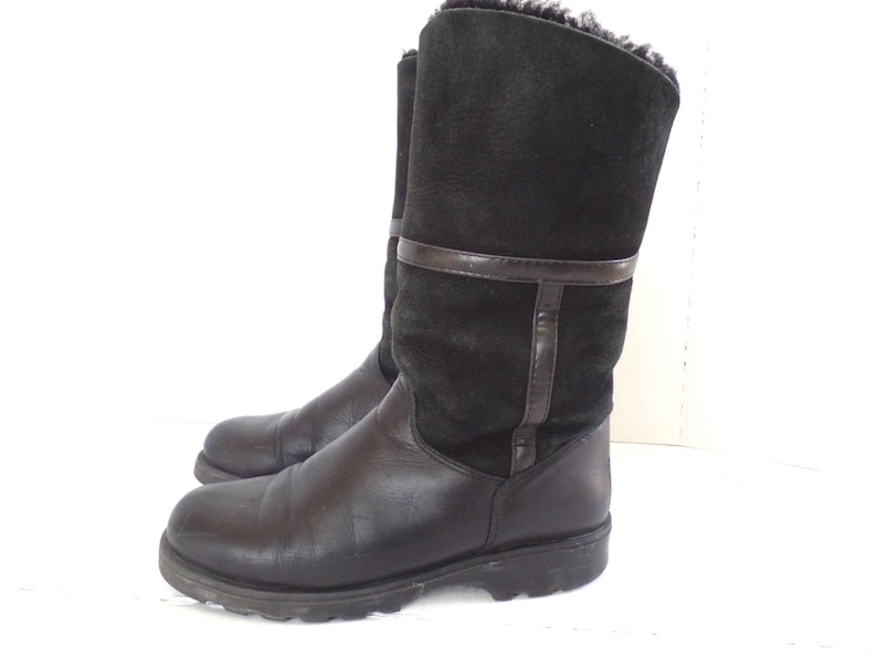 d475480f4e7a3 LA CANADIENNE black shearling boots, Leather Lambs Wool boots,Pull On  Boots, Snow Boots, Size 6.5