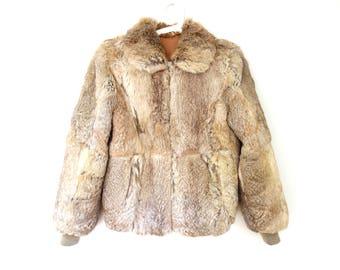 Vintage Rabbit Fur Jacket, Beige Blonde Rabbit fur Coat, 70s Fur Coat, Size M