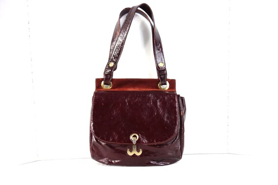 a91ea28359 Vintage Salvatore Ferragamo Handbag  Oxblood Patent Leather