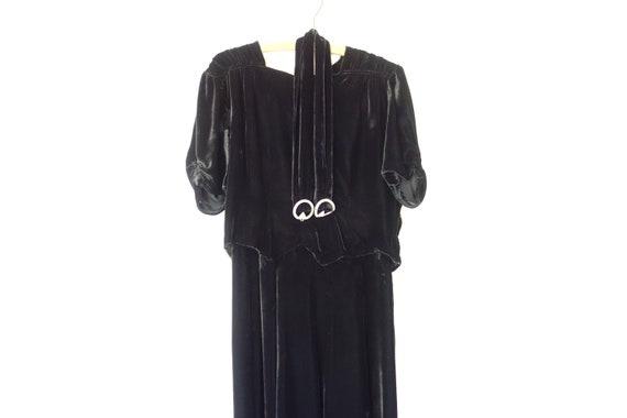 1920s Silk Velvet Dress, 20s Silk Velvet Evening D