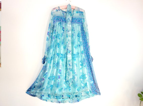 Vintage Indian Gauze Dress, 1970s Silk India Dress