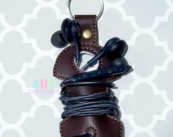 Corded Headphone  Holder Snap Tab, Key Chain, Key Fob, Snap Tab, ITH, Digital File, Embroidery Design