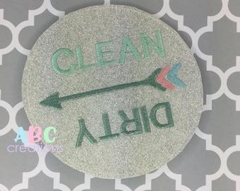 Clean Dirty Dishwasher Magnet, Magnet, Dishes, Clean Dishes, Dirty Dishes, Chores, ITH, Digital File, Embroidery Design