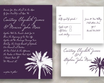 Palmetto Tree Wedding or Event Invitation Set - Charleston Themed