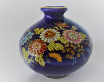 Vintage Japanese Mini Bud Vase Cobalt Blue Accented With Colorful Flowers And Gold, Decorative Vase