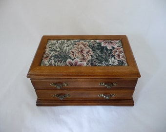 Floral Wood And Brocade, Tapestry, Jewelry Box With Rose Velvet Lining, Mirror Inside, One Opening Drawer