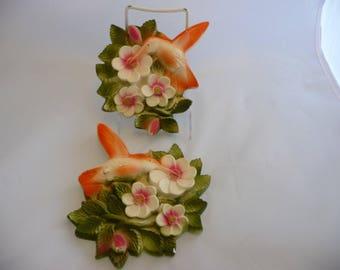 Chalkware Hummingbirds by Favor Ind, Peach Colored, Hummingbird Getting Nectar, Chalkware Birds