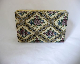 Floral Tapestry Jewelry Box With Red Velvet Lining, Mirror Inside, Gold Linked Trim Edge, Jewellery Box